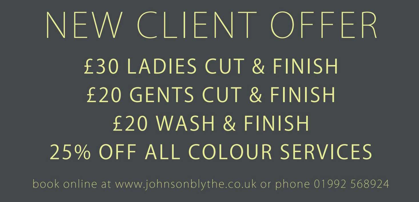 New Client Discount, top Hertford Hairdressers, Johnson Blythe Hairdressing